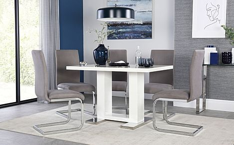 Joule White High Gloss Dining Table with 4 Perth Grey Velvet Chairs