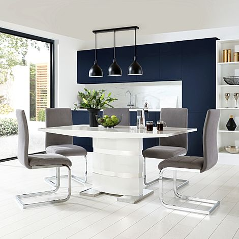 Komoro White High Gloss Dining Table with 4 Perth Grey Velvet Chairs