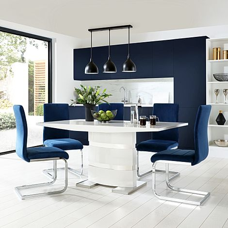 Komoro White High Gloss Dining Table with 6 Perth Blue Velvet Chairs