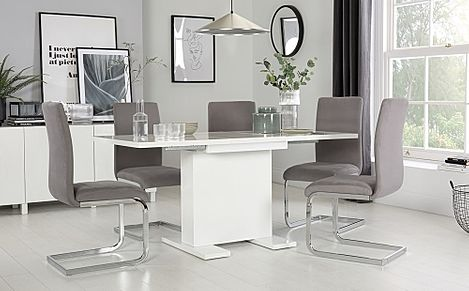 Osaka White High Gloss Extending Dining Table with 4 Perth Grey Velvet Chairs
