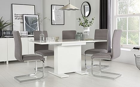 Osaka White High Gloss Extending Dining Table with 6 Perth Grey Velvet Chairs
