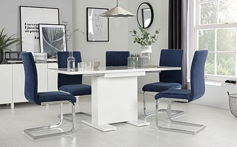 Osaka White High Gloss Extending Dining Table with 4 Perth Blue Velvet Chairs
