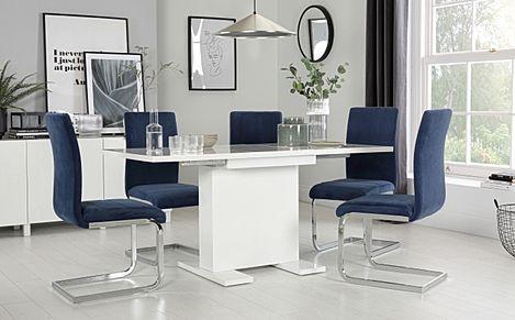 Osaka White High Gloss Extending Dining Table with 6 Perth Blue Velvet Chairs