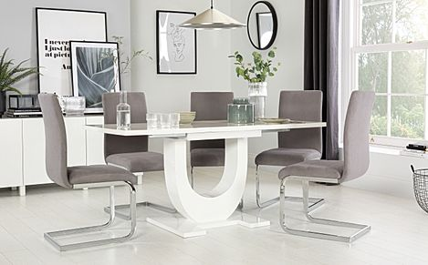 Oslo White High Gloss Extending Dining Table with 4 Perth Grey Velvet Chairs