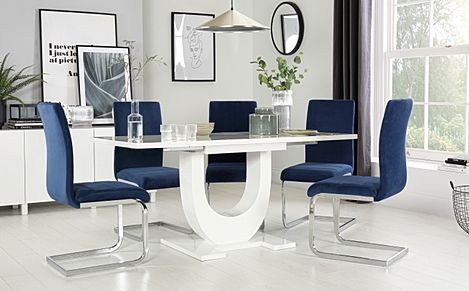Oslo White High Gloss Extending Dining Table with 6 Perth Blue Velvet Chairs