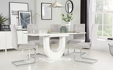 Oslo White High Gloss Extending Dining Table with 6 Perth Dove Grey Fabric Chairs