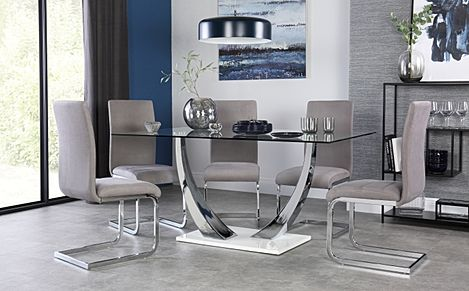 Peake Glass and Chrome Dining Table (White Gloss Base) with 4 Perth Grey Velvet Chairs