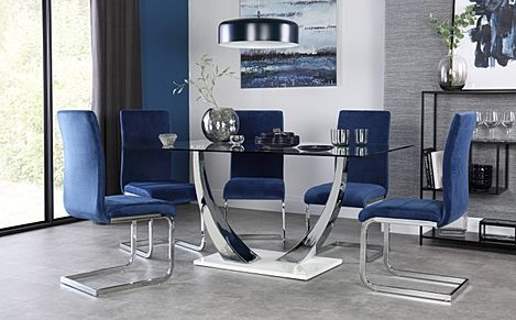 Peake Glass and Chrome Dining Table (White Gloss Base) with 4 Perth Blue Velvet Chairs