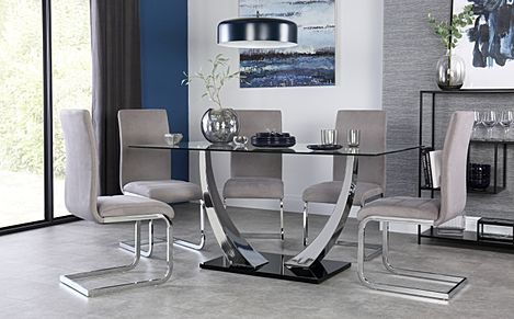 Peake Glass and Chrome Dining Table (Black Gloss Base) with 4 Perth Grey Velvet Chairs