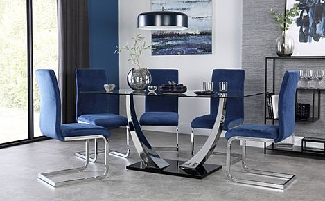 Peake Glass and Chrome Dining Table (Black Gloss Base) with 4 Perth Blue Velvet Chairs
