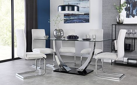 Peake Glass and Chrome Dining Table (Black Gloss Base) with 4 Perth Dove Grey Fabric Chairs
