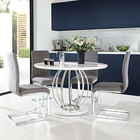 Savoy Round White High Gloss and Chrome Dining Table with 4 Perth Grey Velvet Chairs