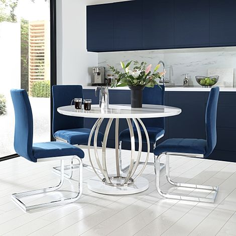 Savoy Round White High Gloss and Chrome Dining Table with 4 Perth Blue Velvet Chairs
