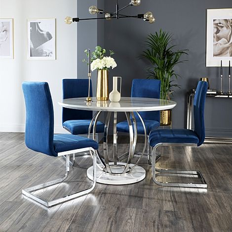 Savoy Round White Marble and Chrome Dining Table with 4 Perth Blue Velvet Chairs