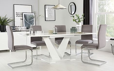 Turin White High Gloss Extending Dining Table with 6 Perth Grey Velvet Chairs