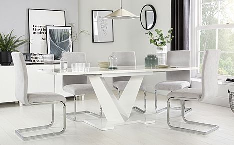 Turin White High Gloss Extending Dining Table with 6 Perth Dove Grey Fabric Chairs