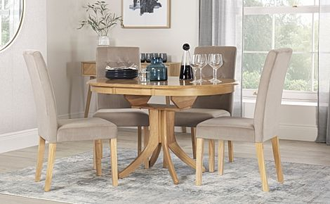 Hudson Round Oak Extending Dining Table with 4 Regent Mink Velvet Chairs