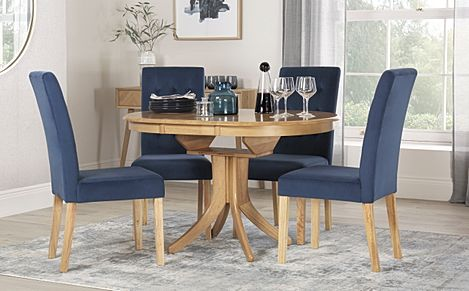 Hudson Round Oak Extending Dining Table with 4 Regent Blue Velvet Chairs