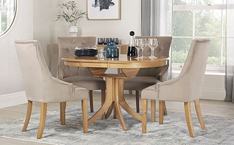 Hudson Round Oak Extending Dining Table with 4 Duke Mink Velvet Chairs