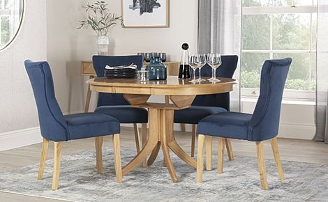 Hudson Round Oak Extending Dining Table with 4 Bewley Blue Velvet Chairs