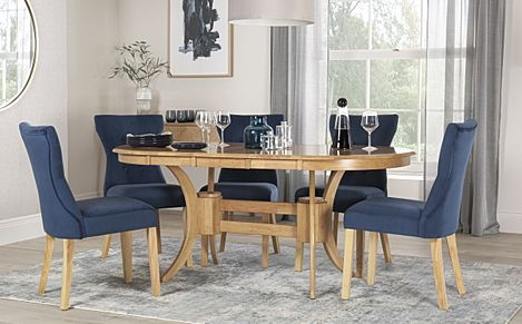 Townhouse Oval Oak Extending Dining Table with 6 Bewley Blue Velvet Chairs