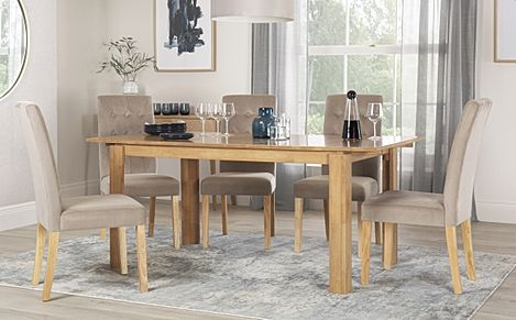 Bali Oak Extending Dining Table with 4 Regent Mink Velvet Chairs