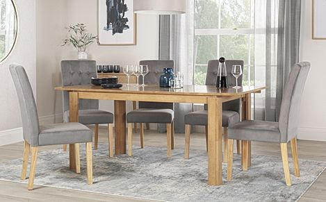 Bali Oak Extending Dining Table with 6 Regent Grey Velvet Chairs