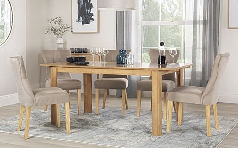 Bali Oak Extending Dining Table with 4 Bewley Mink Velvet Chairs