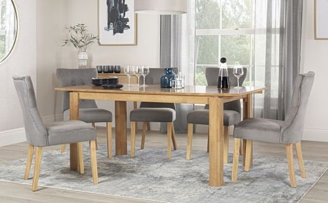 Bali Oak Extending Dining Table with 6 Bewley Grey Velvet Chairs