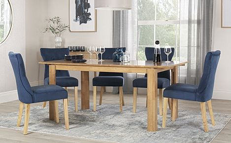 Bali Oak Extending Dining Table with 4 Bewley Blue Velvet Chairs