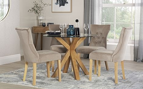 Hatton Round Oak and Glass Dining Table with 4 Bewley Mink Velvet Chairs