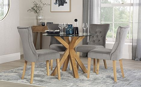 Hatton Round Oak and Glass Dining Table with 4 Bewley Grey Velvet Chairs