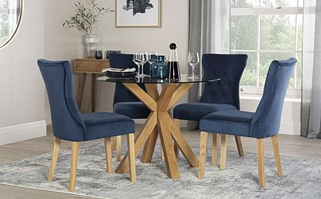 Hatton Round Oak and Glass Dining Table with 4 Bewley Blue Velvet Chairs