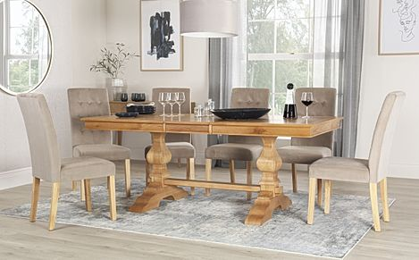 Cavendish Oak Extending Dining Table with 8 Regent Mink Velvet Chairs