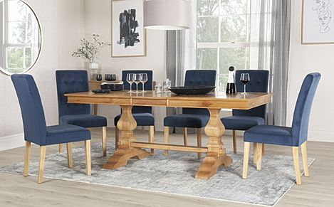 Cavendish Oak Extending Dining Table with 8 Regent Blue Velvet Chairs