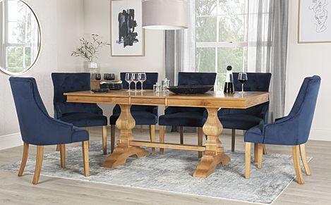 Cavendish Oak Extending Dining Table with 4 Duke Blue Velvet Chairs