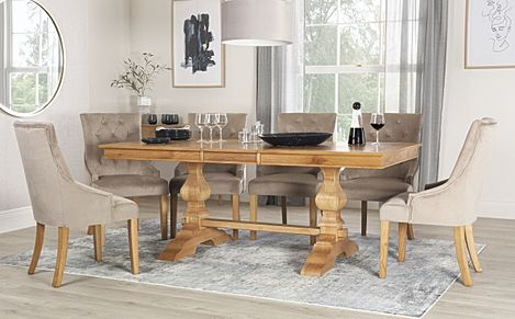 Cavendish Oak Extending Dining Table with 8 Duke Mink Velvet Chairs