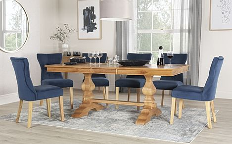 Cavendish Oak Extending Dining Table with 8 Bewley Blue Velvet Chairs