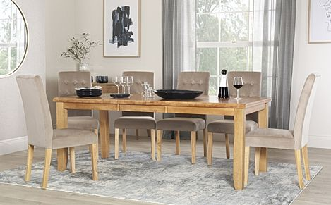 Highbury Oak Extending Dining Table with 6 Regent Mink Velvet Chairs