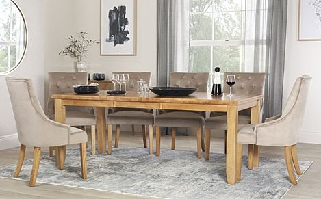 Highbury Oak Extending Dining Table with 8 Duke Mink Velvet Chairs