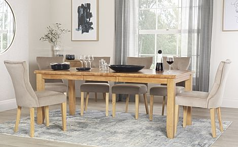 Highbury Oak Extending Dining Table with 8 Bewley Mink Velvet Chairs