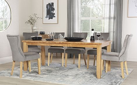 Highbury Oak Extending Dining Table with 8 Bewley Grey Velvet Chairs