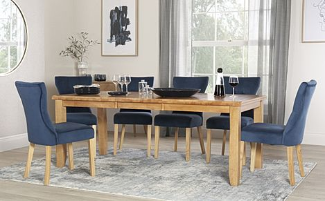 Highbury Oak Extending Dining Table with 8 Bewley Blue Velvet Chairs