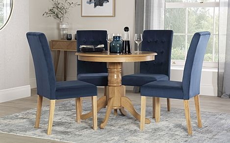 Kingston Round Oak Dining Table with 4 Regent Blue Velvet Chairs