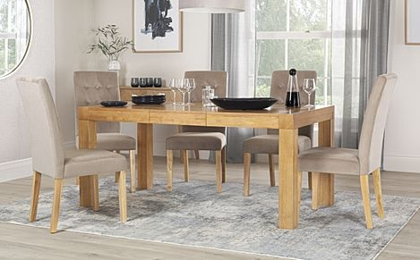 Cambridge 125-170cm Oak Extending Dining Table with 6 Regent Mink Velvet Chairs
