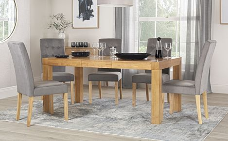 Cambridge 125-170cm Oak Extending Dining Table with 4 Regent Grey Velvet Chairs