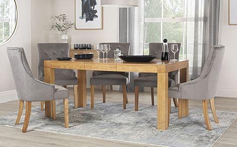 Cambridge 125-170cm Oak Extending Dining Table with 4 Duke Grey Velvet Chairs