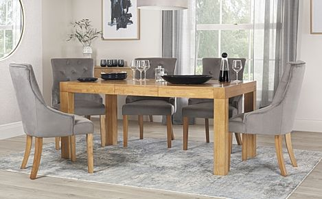 Cambridge 125-170cm Oak Extending Dining Table with 6 Duke Grey Velvet Chairs