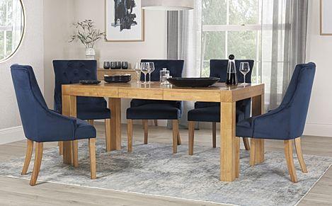 Cambridge 125-170cm Oak Extending Dining Table with 6 Duke Blue Velvet Chairs
