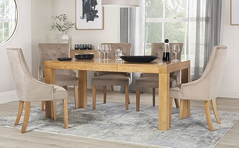 Cambridge Oak 125-170cm Extending Dining Table with 6 Duke Mink Velvet Chairs